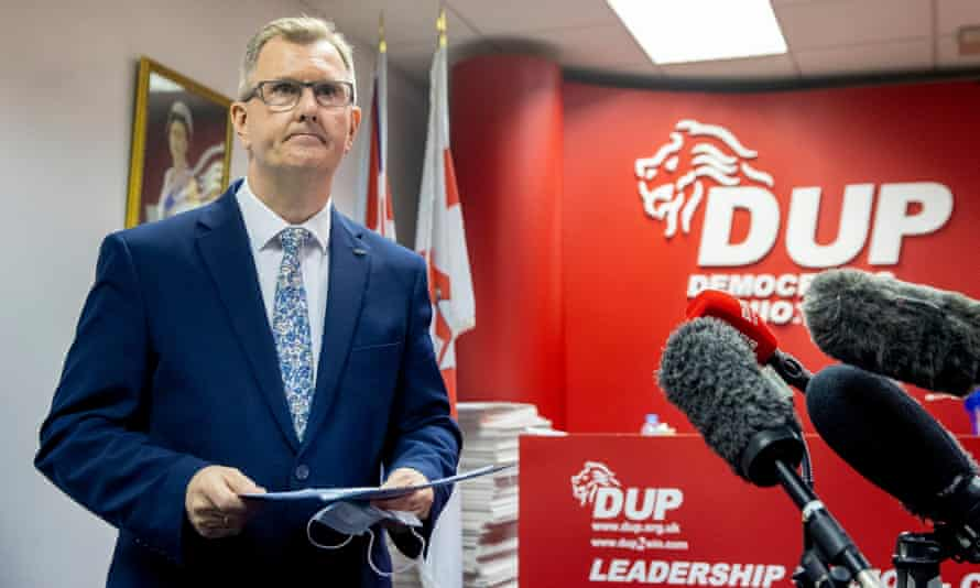 Sir Jeffrey Donaldson launches his campaign to become leader of the DUP at the constituency office of DUP MP Gavin Robinson in east Belfast.