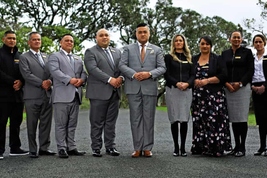 The Casketeers, front and centre, husband and wife Francis and Kaiora Tipene.