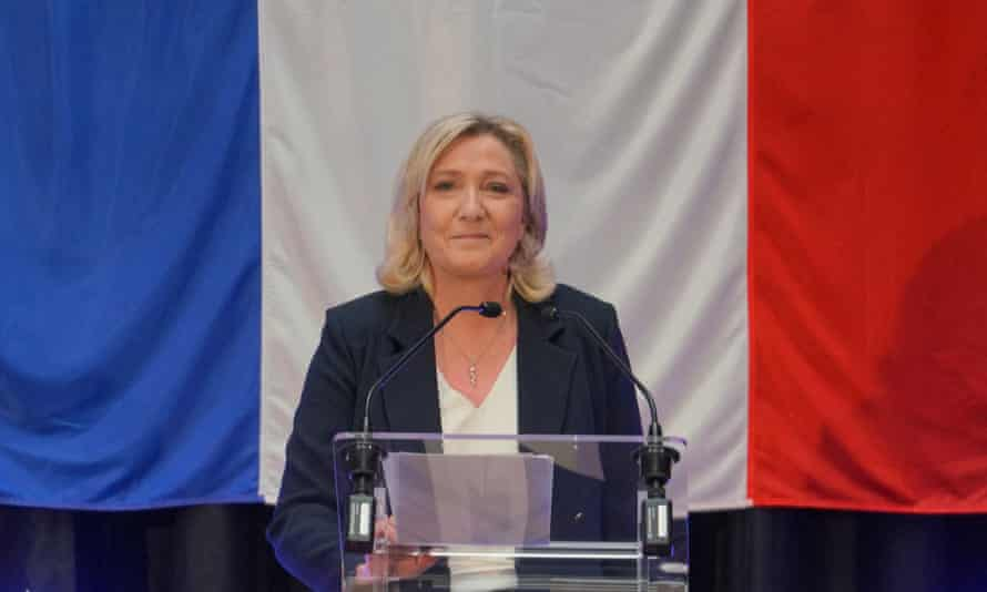 Marine Le Pen delivers a speech on a disappointing election night for her far-right party.