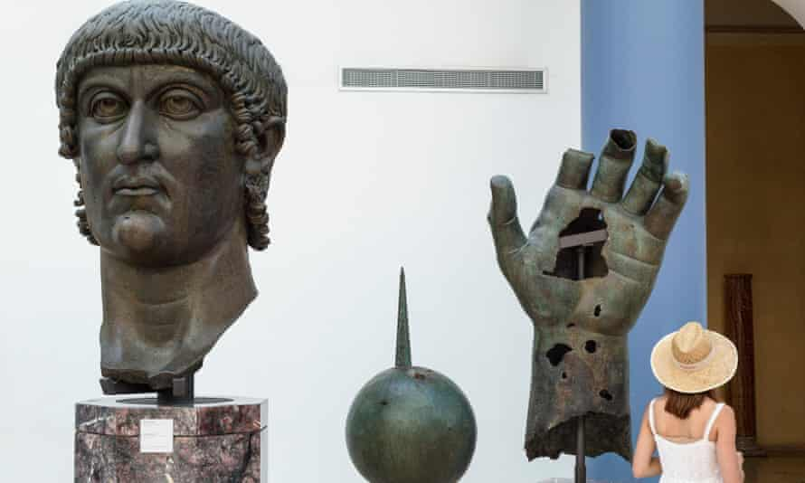 Fragments of the colossal bronze statue of Constantine at the Capitoline Museums in Rome.