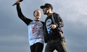 Friends … Chester Bennington, left, and Mike Shinoda in 2014.