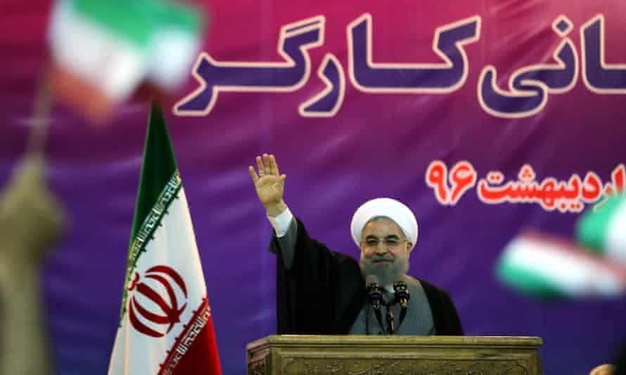 Hassan Rouhani speaks in Tehran, Iran on 1 May 2017.