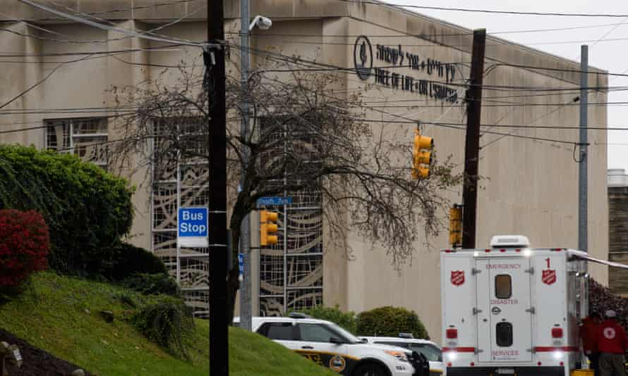 The scene of a mass shooting at the Tree of Life Synagogue in the Squirrel Hill neighborhood.