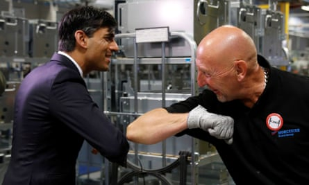 The chancellor, Rishi Sunak, elbow greets an employee during his visit to a factory in Worcester last week.