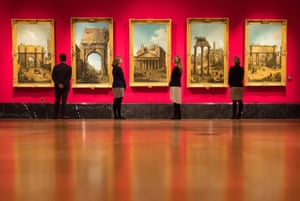 London, UKRoyal Collection employees stand in front of five views of Rome by Canaletto. The works are part of the Canaletto and the Art of Venice exhibition at the Queen's gallery in Buckingham Palace in London