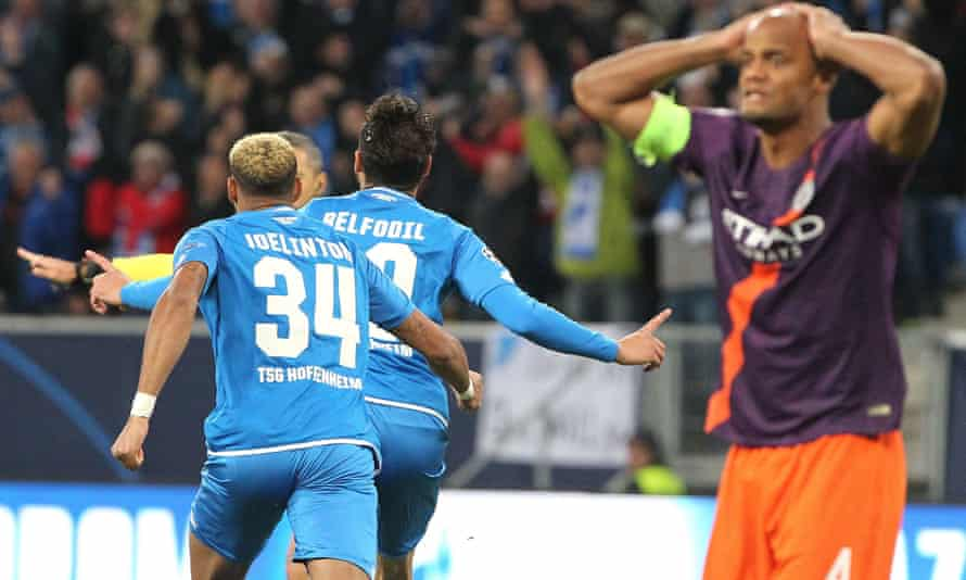 Ishak Belfodil celebrates after opening the scoring for Hoffenheim inside the first minute.