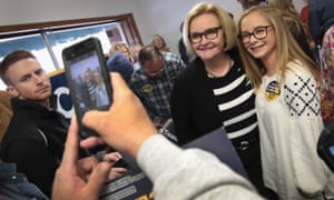 Claire McCaskill greets supporters in Fulton, Missouri.