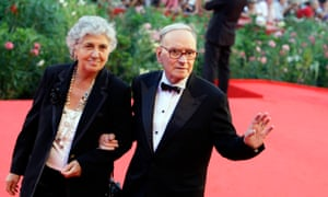 Morricone and his wife Maria Travia arrive at the Venice Film Festival on 2 September 2009