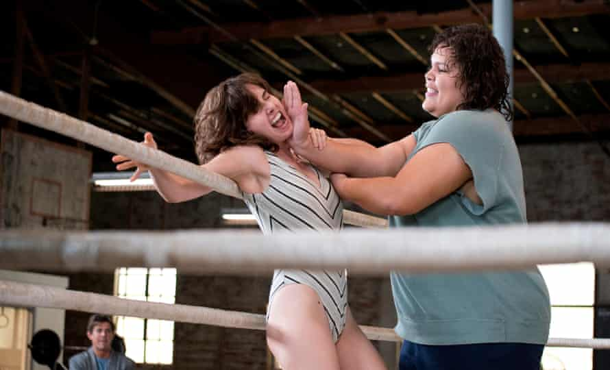 Alison Brie and Britney Young in a scene from Glow, season one