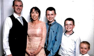 From left to right, Alan Hawe with his wife, Clodagh, and their children, Liam, 13, Niall, 11, and Ryan, six