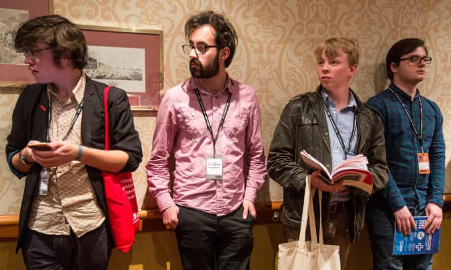 Young labour members wait outside the Young Labour Annual Reception at the Hilton Metropole, Brighton