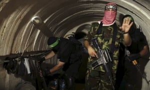A Palestinian fighter from the armed wing of Hamas inside a tunnel in Gaza in 2014