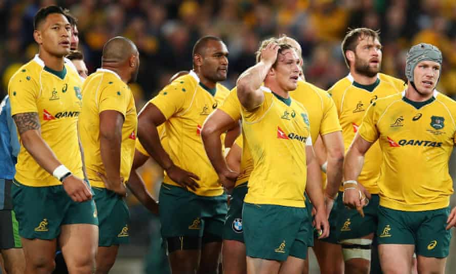 The Wallabies team after losing Bledisloe Cup Rugby Championship match in August 2016.