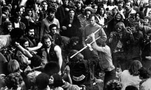 Hell Angels attacking Rolling Stones fans at the Altamont music festival in 1969.