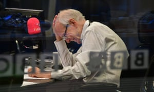 In good humour … Humphrys hosts his final show on the Today programme last month.
