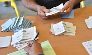 Ballot papers are sorted in the local referendum on the transfer of the Nantes Atlantique airport to Notre-Dame-des-Landes.