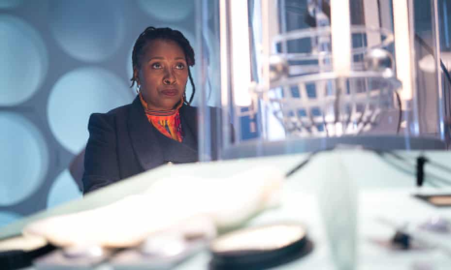 Jo Martin's Doctor Who at the controls of her Tardis.