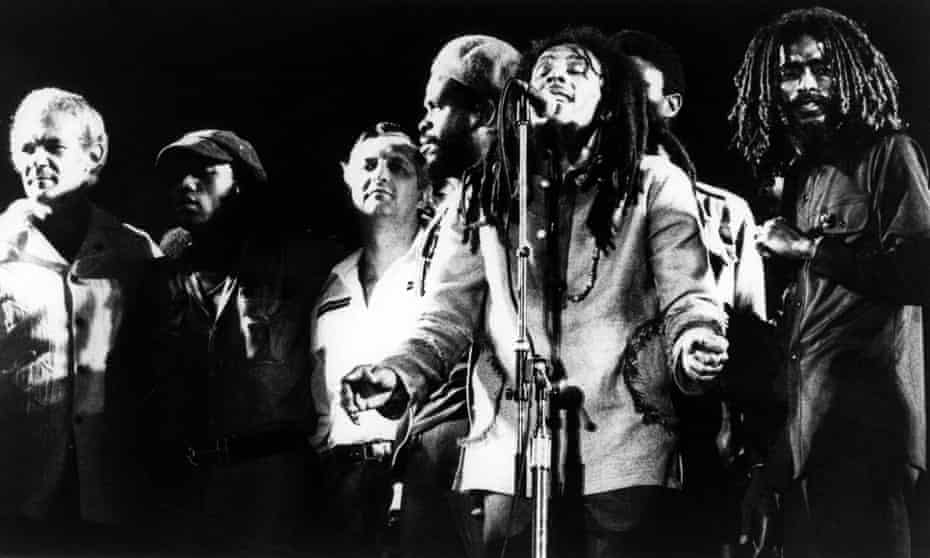 Bob Marley with the Jamaican prime minister Michael Manley (far left) and his political opponent Edward Seaga (third from left), at the 1978 One Love Peace concert in Kingston, Jamaica.