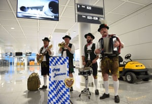 Munich, Germany: Musicians dressed in traditional Bavarian clothes