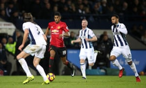 Manchester United's Marcus Rashford runs at the West Bromwich Albion defence.ns.