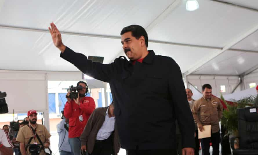 Nicolás Maduro greets a dwindling band of supporters in Caracas last week.