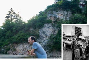 Muhamd Bosnjo, 34, sits near the spot where his mother jumped to her death from the cliffs behind him, June 2018. Inset: Muhamd outside the destroyed Osloboenje newspaper office at the age of 13 in June 1998.