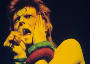 David Bowie performs live on stage at Earls Court Arena on May 12 1973 during the Ziggy Stardust tour.