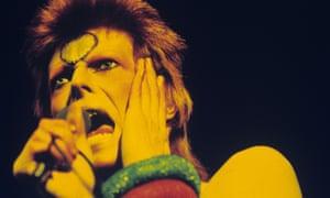 Bowie performing as Ziggy Stardust in London in 1973.
