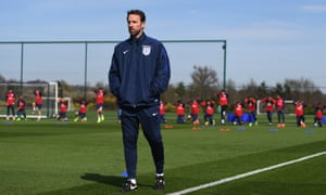 Gareth Southgate oversees England training as they prepare for their game against Lithuania.