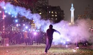 A protest against President Emmanuel Macron's pension plans at the Place de la Nation in Paris last week.