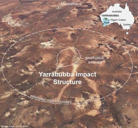 Satellite image of Yarrabubba crater