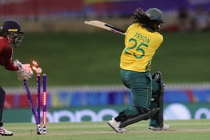Chloe Tryon of South Africa is bowled.