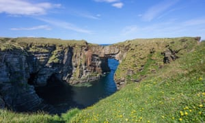 The natural sea arch at the Vat of Kirbister, Orkney, Scotland.