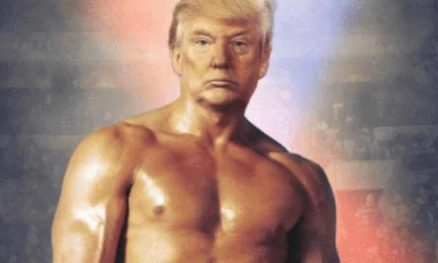 Detail of image posted by @realDonaldTrump, showing the president's head on a muscled torso
