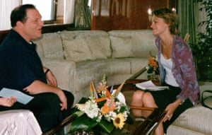 Harvey Weinstein with former assistant Zelda Perkins at Cannes in 1998. Photograph: courtesy of Zelda Perkins