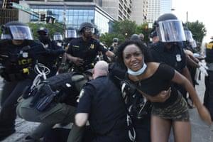 Police detain demonstrators protesting in Atlanta