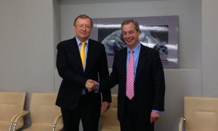 Alexander Yakovenko, the then Russian ambassador to Britain, meets Nigel Farage in 2013.