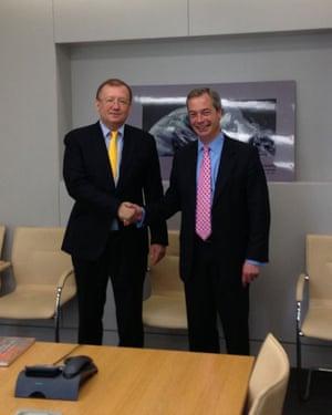 Farage meeting Alexander Yakovenko, the Russian ambassador, in 2013.