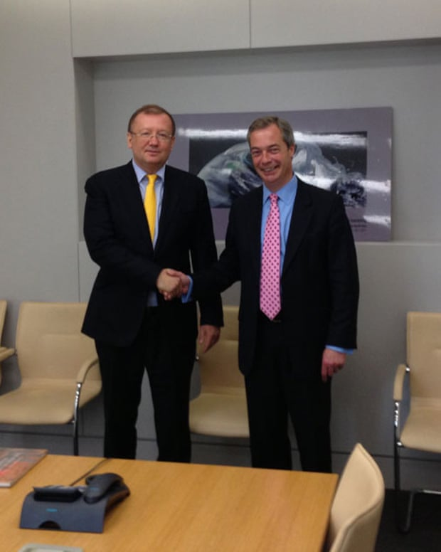Farage meeting Alexander Yakovenko, the Russian ambassador, in 2013.