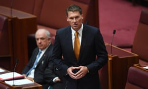 Cory Bernardi addresses the Senate as he announces his defection from the Liberal party on Tuesday.