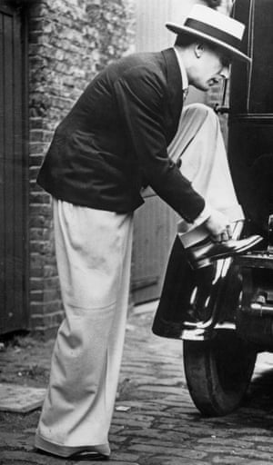 Scottish singer, dancer, Jack Buchanan wearing Oxford 'bags' circa 1925.
