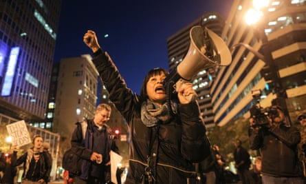 Yvette Felarca demonstrates following a grand jury's decision not to indict a police officer in the chokehold death of Eric Garner in 2014.