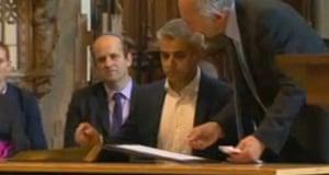 Sadiq Khan signs the declaration of acceptance