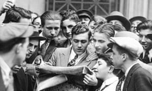 News breaks of the Wall Street stock market crash in 1929, which prompted the New Deal