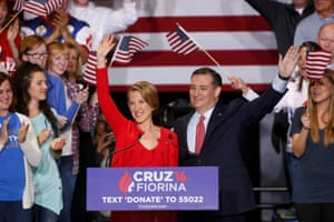 Ted Cruz stands with Carly Fiorina at campaign rally in Indianapolis.