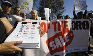 People protest in Los Angeles outside the headquarters of the regulatory body for domain names, Icann, in January.