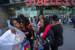 People from Eritrea attend the memorial for slain rapper Nipsey Hussle, an Eritrean American, on 11 April.