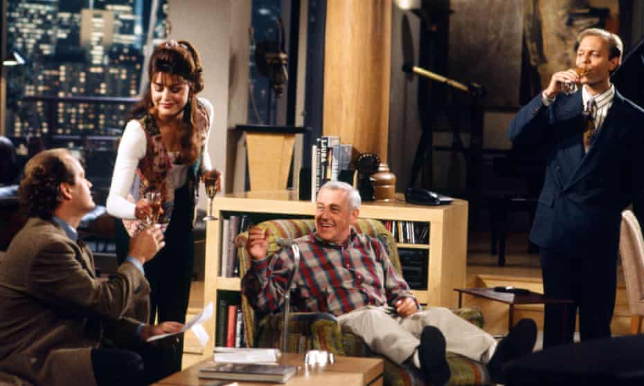 Spun off in Seattle … Grammer with Jane Leeves as Daphne, John Mahoney as Martin and David Hyde Pierce as Niles.