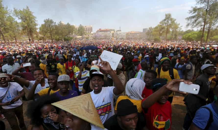 Protesters in Pretoria on Friday.