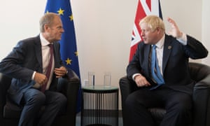 Boris Johnson with the European council president, Donald Tusk, at the UN headquarters in New York
